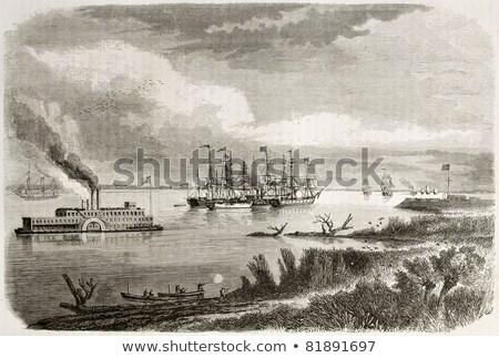 Velho navio a vapor água costa lago céu Foto stock © IMaster