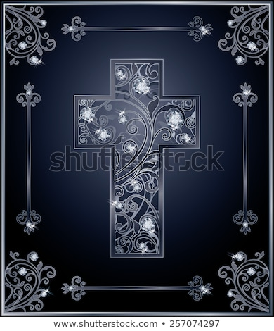 Stock fotó: Gyémánt · katolikus · kereszt · kártya · háttér · Jézus