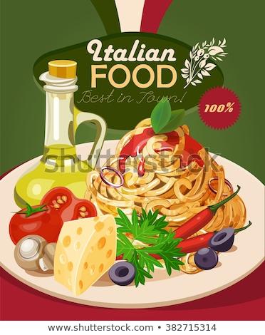 Comida italiana estilo placa caliente sabroso Foto stock © dariazu