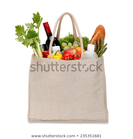 Red, reusable shopping bag isolated on white + clipping path. stock photo © kayros