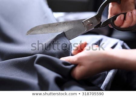 портной · рук · ножницы · ткань · человека - Сток-фото © Yatsenko