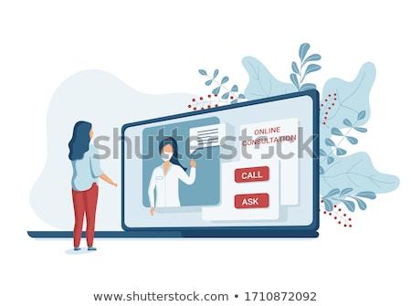 doctor using laptop vector illustration stock photo © rastudio