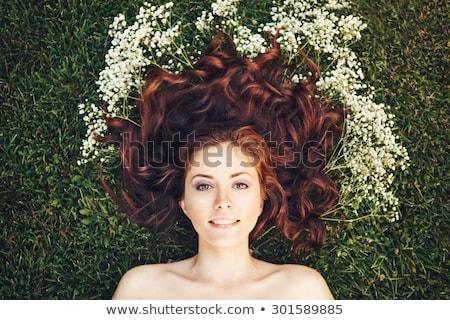 portret · uśmiechnięty · czerwony · głowie · kobieta - zdjęcia stock © deandrobot