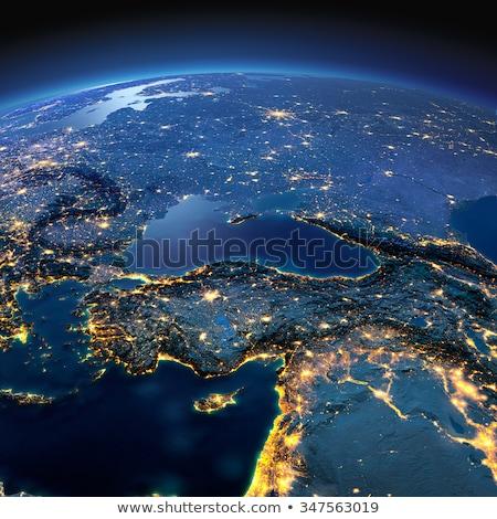 Planeet verlicht stad algemeen wereld stadslichten Stockfoto © albund