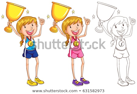 Doodle character for runner Stock photo © bluering