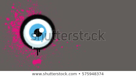 graffiti eyeball with pink paint grunge on gray Stock photo © Melvin07