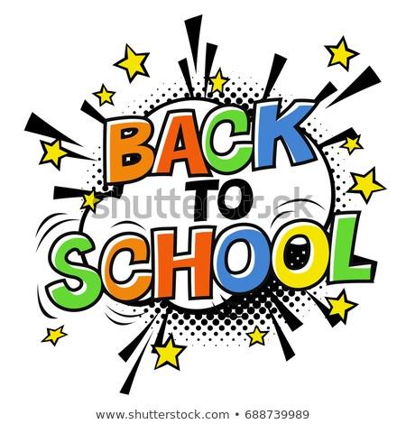 Back to school logotype. On white halftone background Stock photo © pashabo