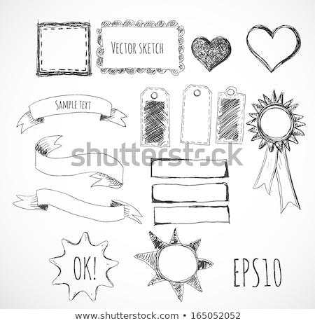 El çizim kalp şekli defter üst görmek Stok fotoğraf © Sonya_illustrations