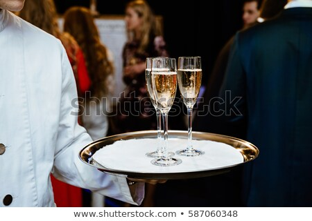 シャンパン 眼鏡 トレイ パーティ イベント 休日 ストックフォト © dashapetrenko