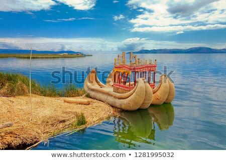 Tekne göl kadın su ev manzara Stok fotoğraf © Pakhnyushchyy
