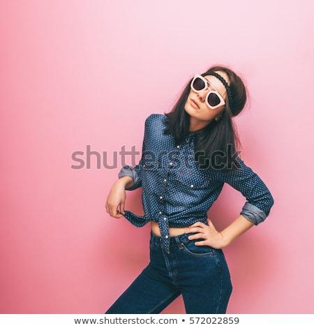 mavi · elbise · kız · ayarlamak · gülümseme - stok fotoğraf © vectorikart
