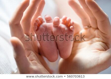Foto stock: Bebé · dedo · padres · primer · plano · manta