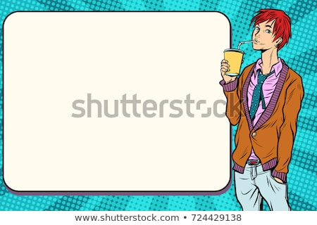 Fashionable hipster young man drinking a beverage, manga anime Stock photo © studiostoks