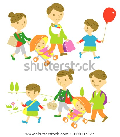 Family taking stroll with shopping bags Stock photo © IS2