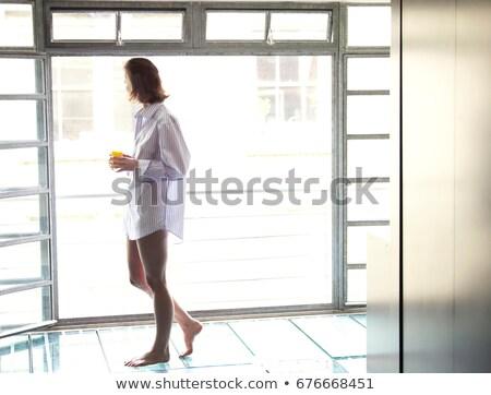 Vrouw lopen verleden venster ochtend huis Stockfoto © IS2