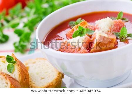 Házi készítésű hideg időjárás leves pár tálak Stock fotó © mpessaris