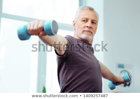 Idős férfi testmozgás tornaterem szemüveg egészséges Stock fotó © IS2