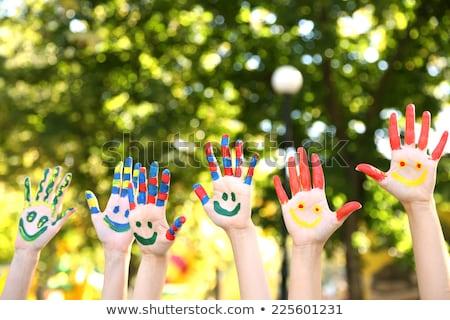 çocuk yetişkin dağınık oynamak boya eğlence Stok fotoğraf © IS2