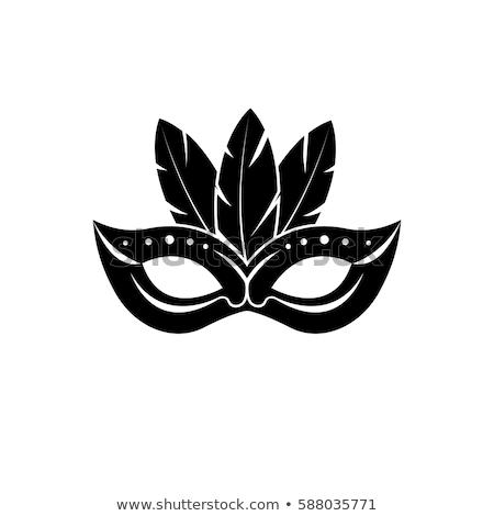 Black Carnival Mask Icon Vector Illustration Stock photo © robuart