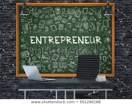 entrepreneurs concept doodle icons on chalkboard 3d stock photo © tashatuvango