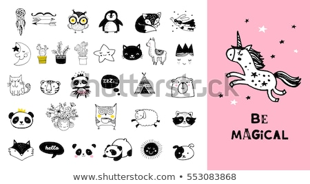 Cute unicorn animal, stickers and hand drawn letters Stock photo © ikopylov