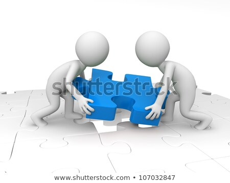 Group of workers hold jigsaw pieces Stock photo © IS2