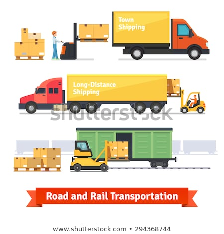 Forklift loading freight truck isolated icon Stock photo © studioworkstock