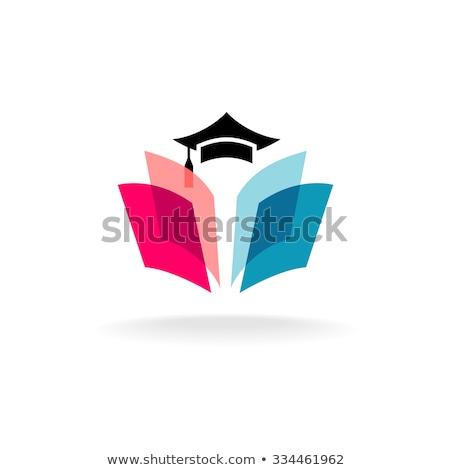 érettségi · sapka · könyv · nyitott · könyv · izolált · fehér - stock fotó © krustovin