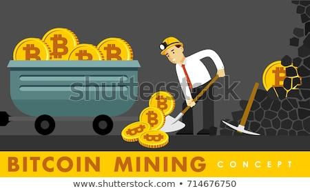 international bitcoin, gold coins and shovel Illustrator. Stock photo © alexmillos