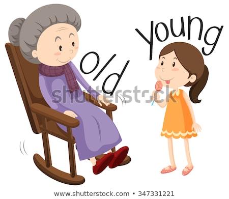 Tegenover woorden oude jonge illustratie familie Stockfoto © bluering