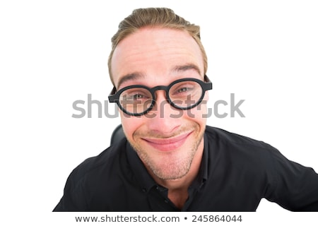 Stock photo: Portrait of a geek making faces