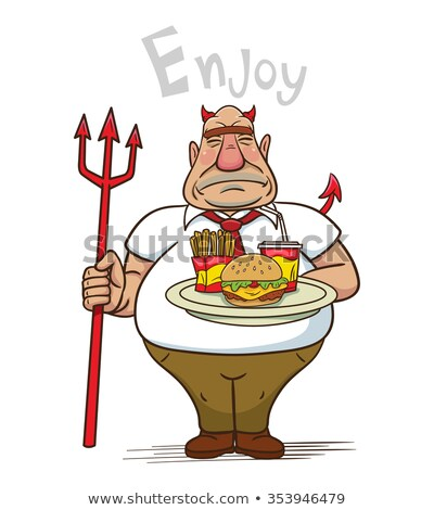 Devil Burger Cartoon Character Holding A Trident Stock photo © hittoon