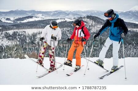 Kettő férfi emelkedő hó vakáció síel Stock fotó © IS2