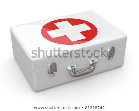 first aid kit on white background isolated 3d illustration stock photo © iserg