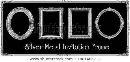 Oude zilver fotolijstje zwarte geïsoleerd Stockfoto © adamr