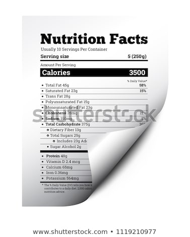 Nutrition facts label design with page curl. Vector Stock photo © m_pavlov