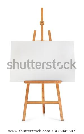 Fából készült festőállvány vászon izolált fehér vektor Stock fotó © robuart