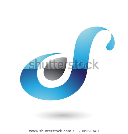 Grey Glossy Curvy Fun Letter D or S Vector Illustration Stock photo © cidepix