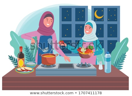 Muslim Woman Cooking at Home Illustration Stock photo © artisticco