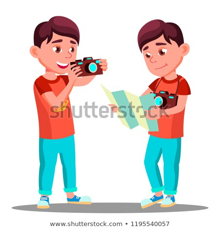 Stock photo: Cute Little Boy Take A Photo With Camera In His Hands Vector. Isolated Illustration