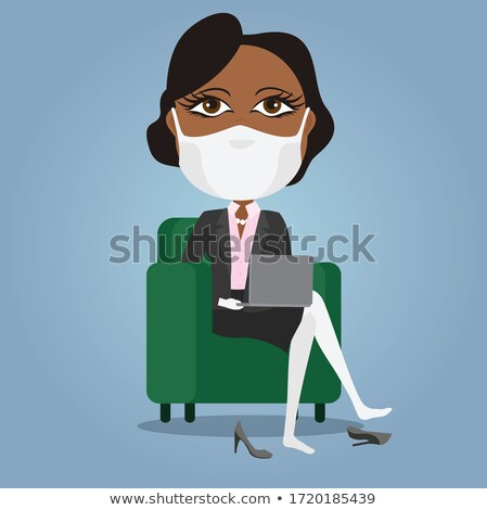 Pretty Women Works in Office Vector Illustrations Stock photo © robuart