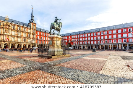 monument to philip iii of spain at the plaza mayor of madrid stock photo © boggy