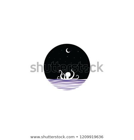 Mezzanotte scena gigante polpo segno simbolo Foto d'archivio © vector1st