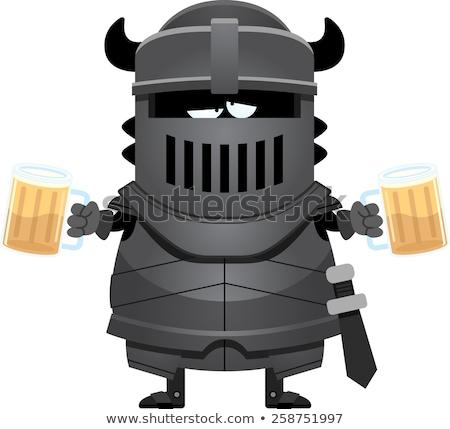 cartoon · zwarte · ridder · zwart · pak · pantser · man - stockfoto © cthoman