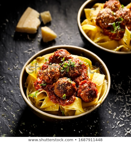 rustic italian meatball pappardelle pasta food background Stock photo © zkruger