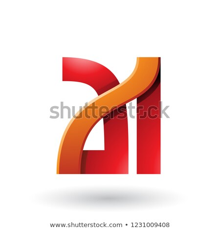 Orange and Red Bold Dual Letters A and I Vector Illustration Stock photo © cidepix