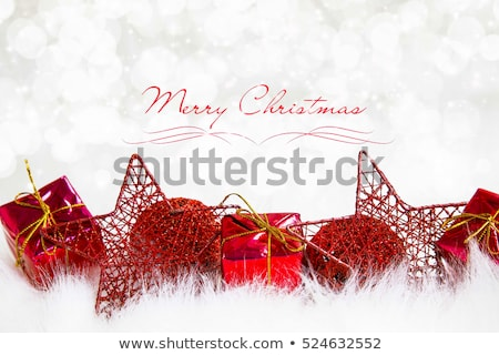 Noel tebrik kartı kırmızı çam ağacı neşeli happy new year Stok fotoğraf © cienpies