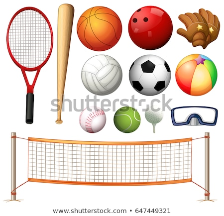 Volleyball net and different types of balls Stock photo © colematt