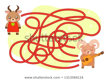Stock photo: cartoon maze game with boy in love and girl