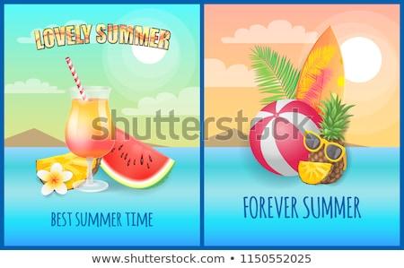szörfdeszka · szett · vektor · szalag · nyári · szabadság · tábla - stock fotó © robuart